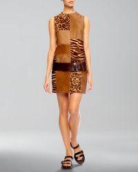 Michael Kors Calf-Hair Patchwork Shift Dress - Lyst
