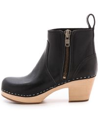 Swedish Hasbeens Zip It Emy Clog Bootie  Black - Lyst