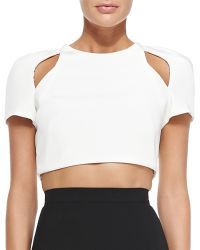 J. Mendel Short-Sleeve Crop Top With Cutouts - Lyst