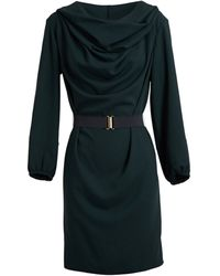 Lanvin Cowl Neck Hooded Dress with Belt - Lyst