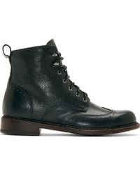 Rag & Bone Black Embossed Leather Cozen Wingtip Boots - Lyst