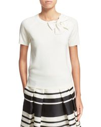 Kate Spade | Short Sleeve Bow Sweater | Lyst