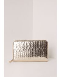 Missguided | Croc Purse Gold | Lyst