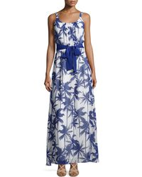 Eliza J Palm Tree Sleeveless Belted Maxi Dress blue - Lyst