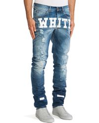 Off-white Jean with White Text - Lyst