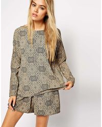 Asos Reclaimed Vintage Washed Paisley Long Sleeve Top - Lyst