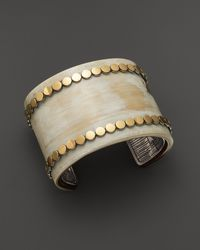 John Hardy 18K Gold And Sterling Silver Dot Wide Cuff With Buffalo Horn - Lyst