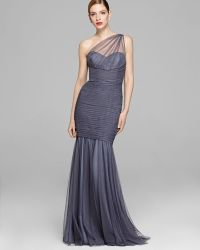 Amsale - Gown One Shoulder Tulle Mermaid - Lyst
