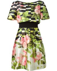 Oscar de la Renta Flared Floral Print Dress - Lyst