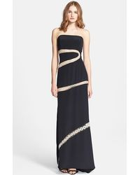 Emilio Pucci Embroidered Silk Cady Strapless Gown - Lyst