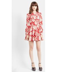 Saint Laurent Floral Print Long Sleeve Dress red - Lyst