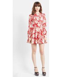Saint Laurent Floral Print Long Sleeve Dress - Lyst