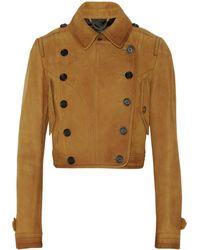 Burberry Prorsum Cropped Texturedleather Jacket - Lyst
