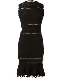 Alexander McQueen Black Stretch Openwork Knitwear Dress - Lyst