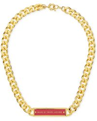 Marc By Marc Jacobs - Chunky Enamel Id Necklace Pinkgolden - Lyst