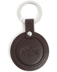Lacoste Club Essentials Round Tag Brown Leather Key Ring - Lyst