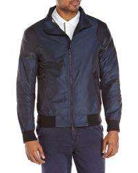 DKNY Navy  Black Faux Leather Panel Jacket - Lyst