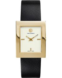 Tory Burch Buddy Classic Goldtone Stainless Steel & Saffiano Leather Strap Watch/Black - Lyst