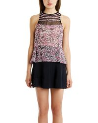 Charlotte Ronson Floral Mesh Top pink - Lyst