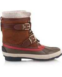 Burberry - Shearling-Lined Suede Duck Boots - Lyst