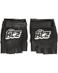 KTZ - Logo Patch Leather Fingerless Gloves - Lyst