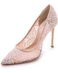Giambattista Valli Lace Pumps With Iridescent Heel - Pink - Lyst