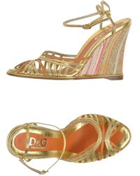 D&G Gold Sandals - Lyst