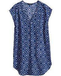 H&M Blue Sleeveless Blouse - Lyst