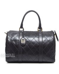 Chanel Preowned Black Lambskin Vintage Large Boston Bag - Lyst