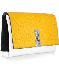 Proenza Schouler Elliot Ostrich, Leather And Suede Clutch - Lyst