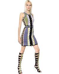 Versace Sleeveless Viscose Blend Knit Dress - Lyst