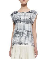Pam & Gela Printed Cap-Sleeve Sweatshirt - Lyst