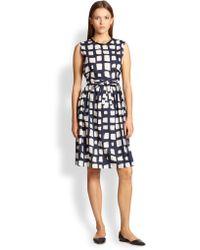 Max Mara Square-Print Jewelneck Dress - Lyst