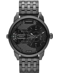 Diesel Mens Mini Daddy Black Ionplated Stainless Steel Bracelet Watch 54x46mm - Lyst