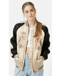 Topshop Women'S Embroidered Sateen Bomber - Lyst