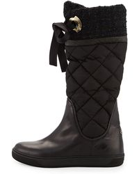 Moncler Judith Tweedcuff Quilted Boot - Lyst