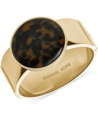 Michael Kors Goldtone Pavèedged Tortoise Disc Hinge Bangle Bracelet - Lyst