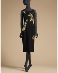Dolce & Gabbana | Crepe Sheath Dress With Embroidery | Lyst