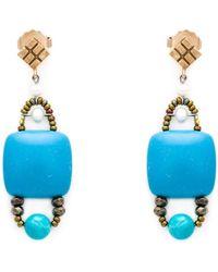 Ziio - Stone And Bead Earrings - Lyst
