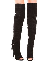 Privileged - Thigh High Fringe Heeled Boots - Lyst