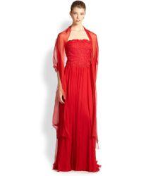 Tadashi Shoji Embroidered Tulle Silk Gown - Lyst