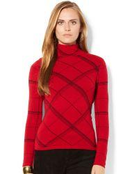 Lauren by Ralph Lauren Plaid Turtleneck Sweater - Lyst