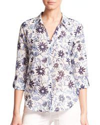 Joie Katrine Cotton Floral Print Shirt white - Lyst