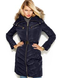 Michael Kors Michael Petite Hooded Faux-fur-trim Belted Down Puffer Coat - Lyst