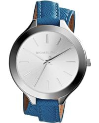 Michael Kors Slim Silver Color Doublewrap Stainless Steelleather Runway Watch - Lyst