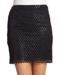 Elie Tahari Bennett Coated Lace Pencil Skirt - Lyst