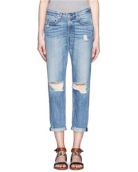 Rag & Bone Distressed Straightleg Boyfriend Jeans - Lyst