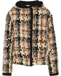 See By Chloé Hooded Houndstooth Tweed Jacket - Lyst