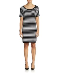 Michael Kors Striped Cotton Shift Dress - Lyst