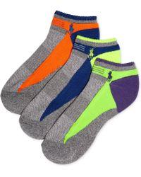 Polo Ralph Lauren Mens Athletic Color Tech Low-cut Socks 3-pack - Lyst